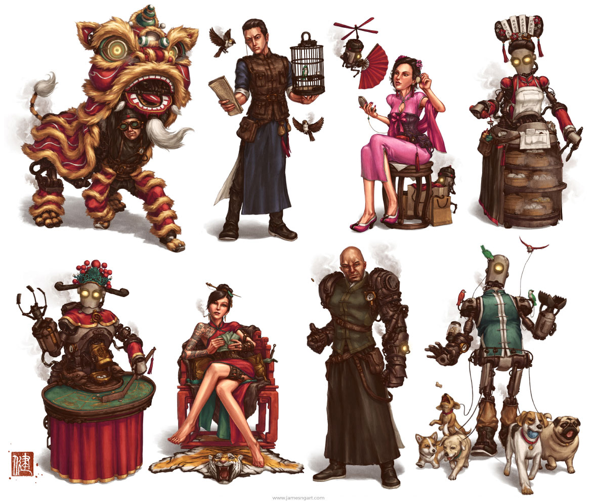 Steampunk character design concept art from the Imperial Steam and Light series.