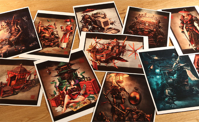 Asian steampunk art prints from Imperial Steam and Light series.