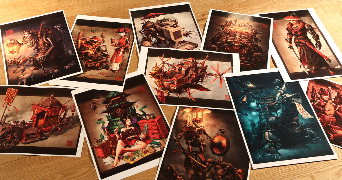 Chinese steampunk art prints from Imperial Steam and Light series.