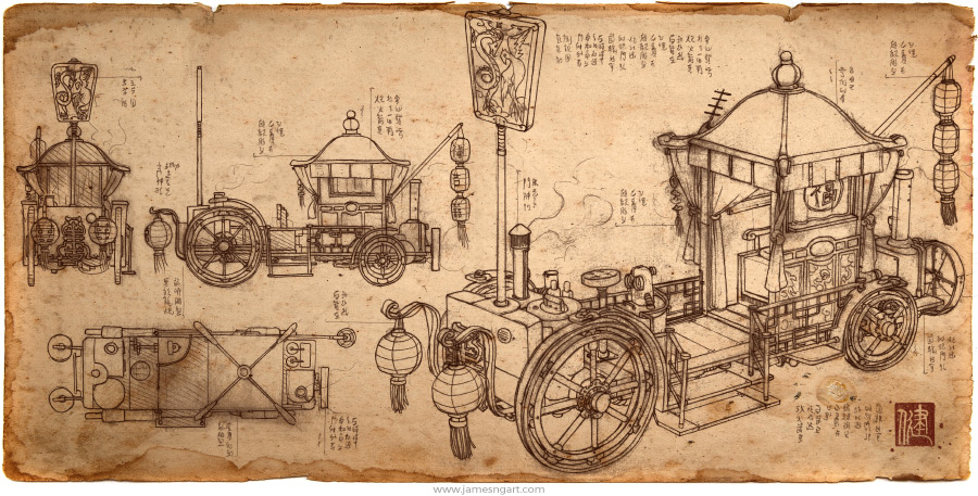 James ng art bridal carriage sketch of asian steampunk bridal carriage blueprint malvernweather Gallery