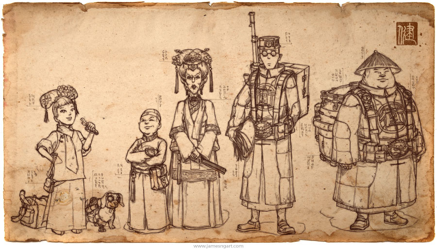Asian steampunk Elder Council concept art sketches.
