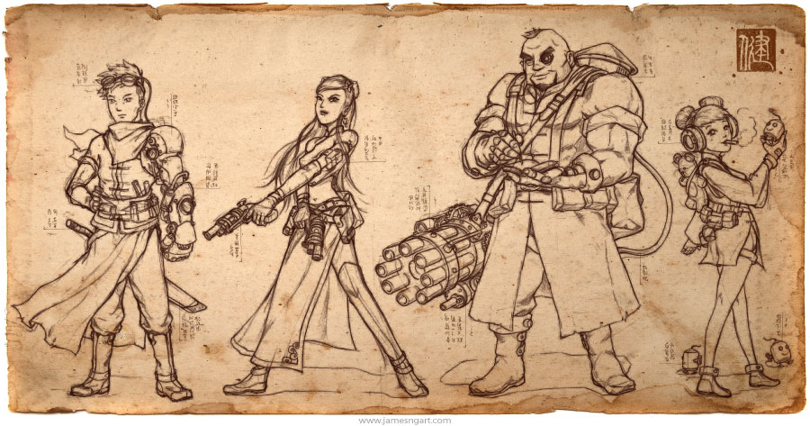 Chinese steampunk Lotus Clan character design drafts.