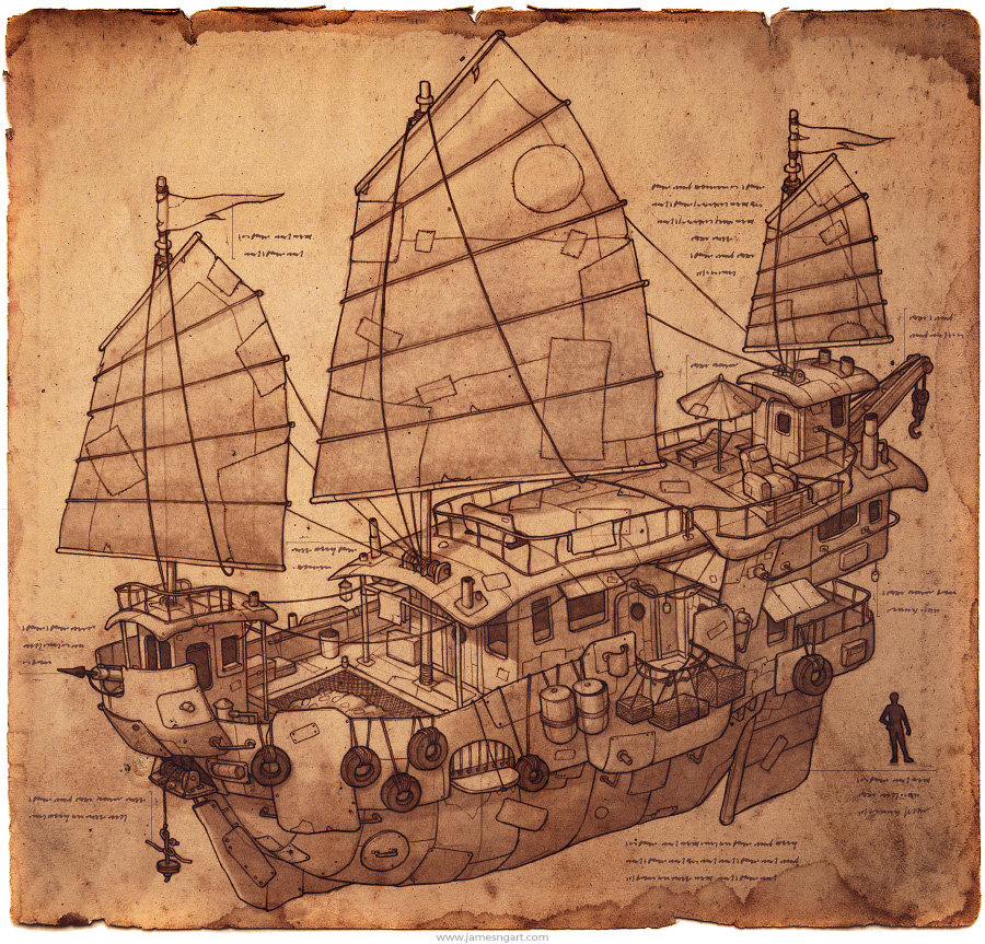 Pencil illustration of steampunk junkboat concept art.