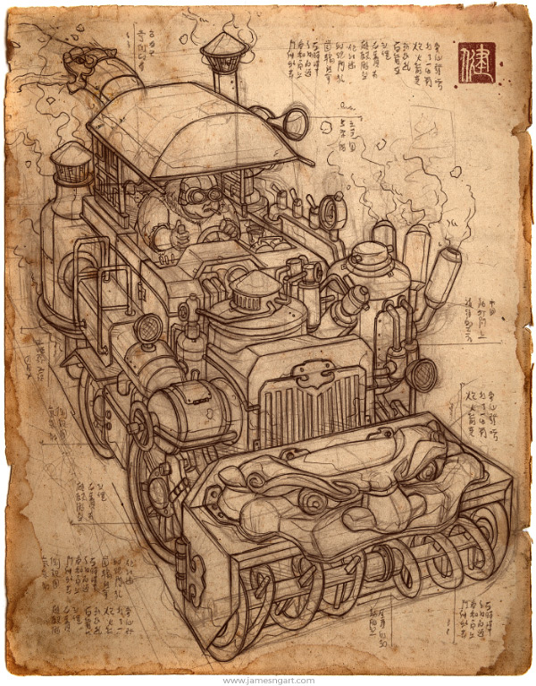 Sketch of Chimera snowblower tractor Asian steampunk art.