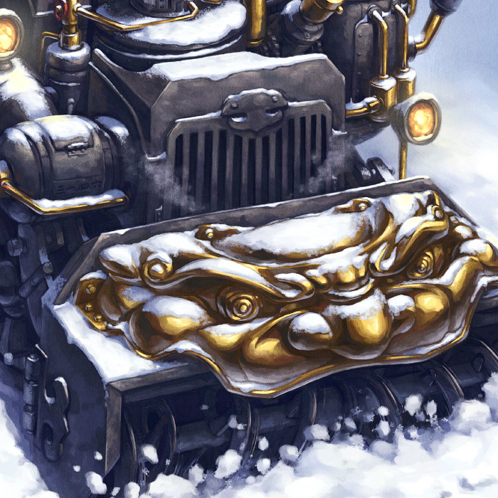 Detail of Chimera Chinese steampunk snowblower illustration.