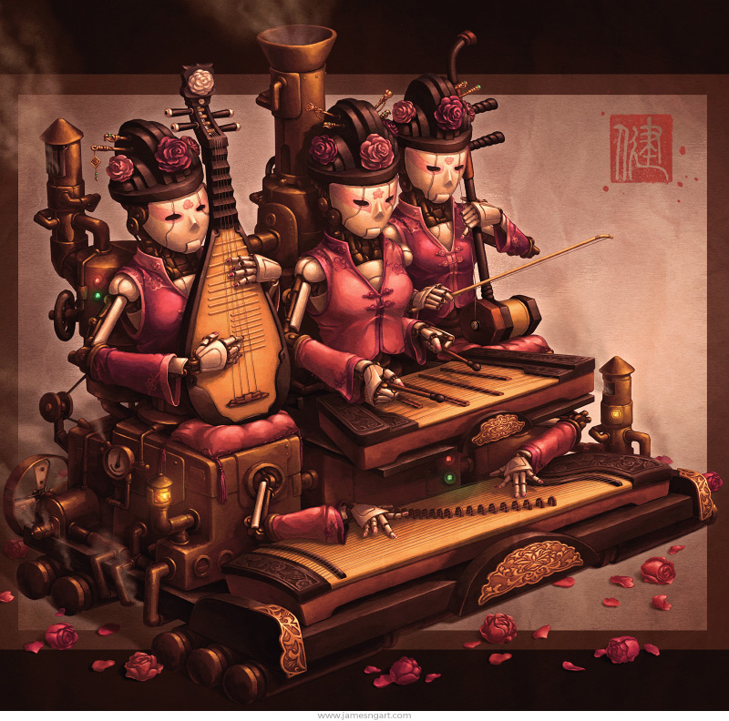 Court Band Chinese steampunk music illustration.