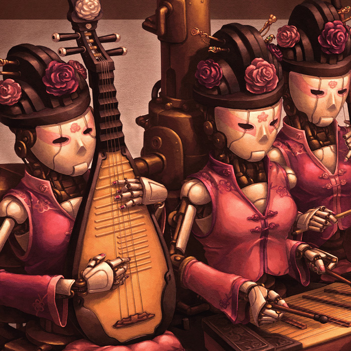 Detail of Court Band Chinese steampunk illustration.