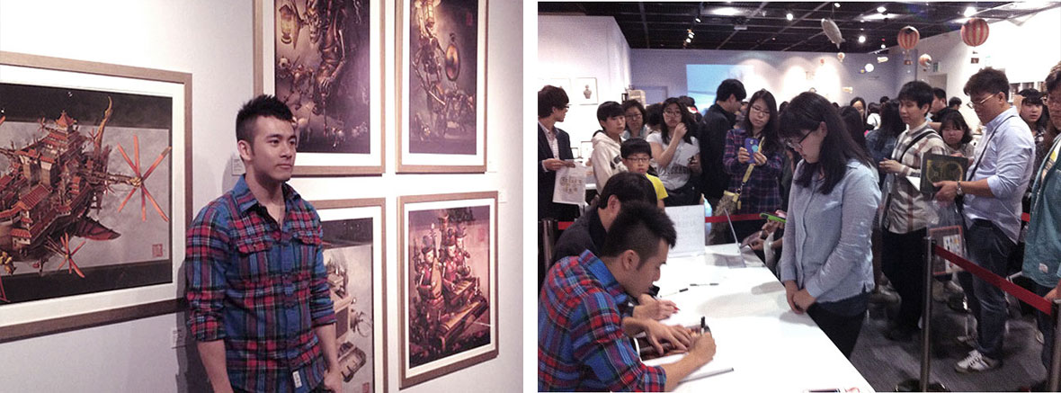 Gallery exhibitions of Imperial Steam and Light Asian steampunk series.