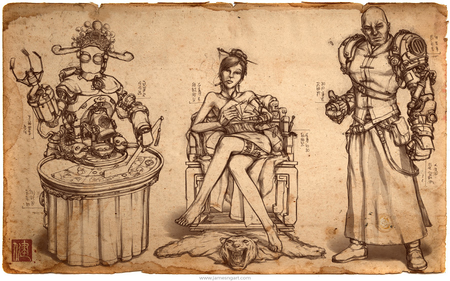 Sketch of Steampunk Gambling Den character illustration.