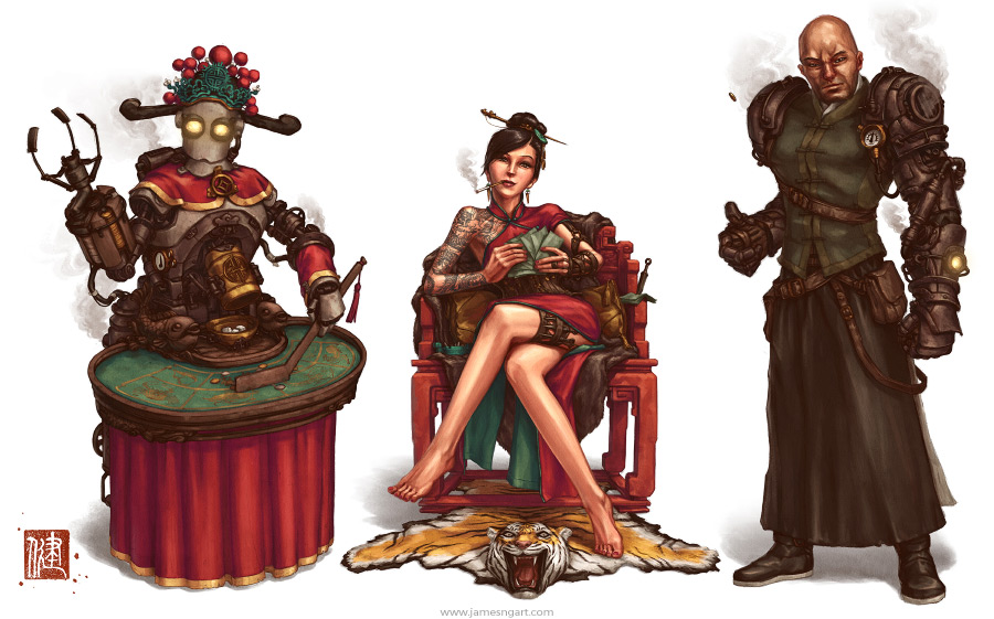 Gambling Den characters concept art Chinese steampunk illustration.