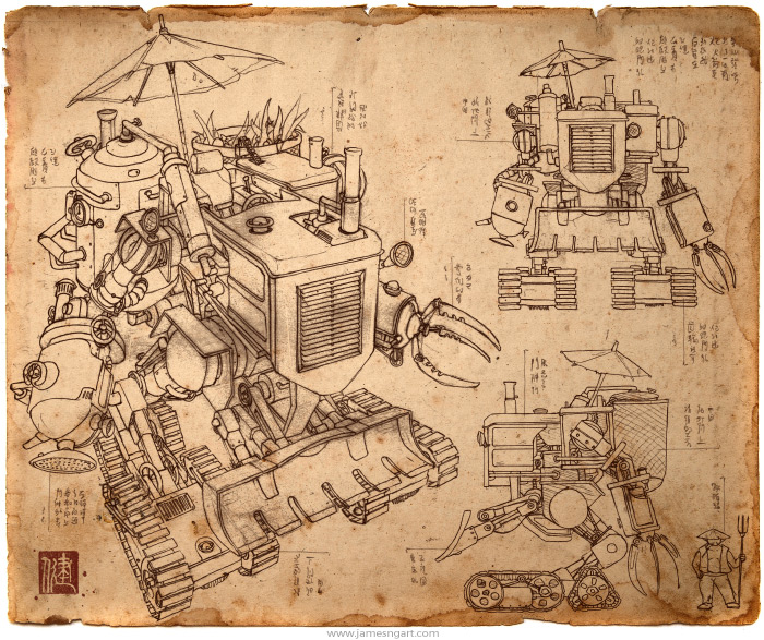 Draft of Asian steampunk Harvester farming mech design.