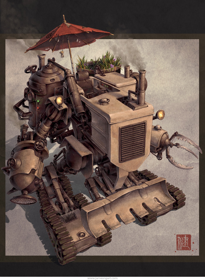 Chinese Steampunk Harvester farming robot concept art.
