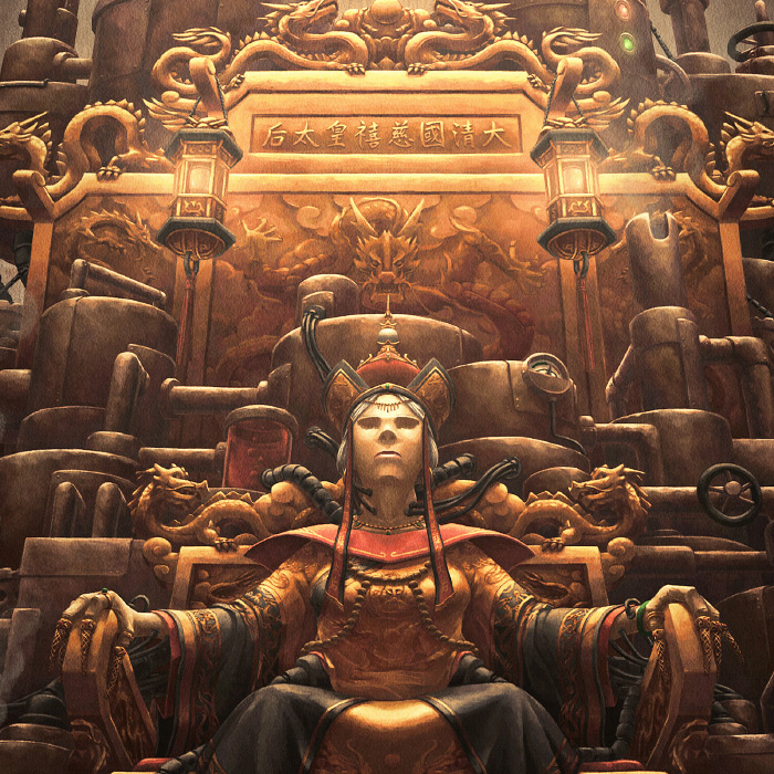 Detail of Immortal Empress golden steampunk throne.