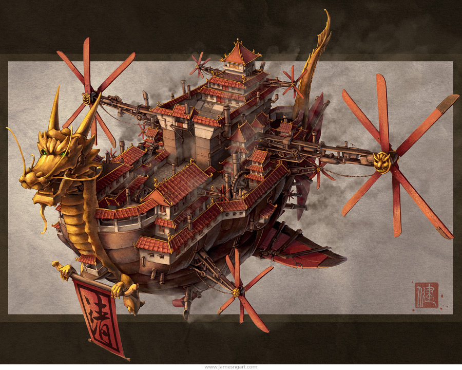 Chinese steampunk Imperial Airship flying castle concept art.