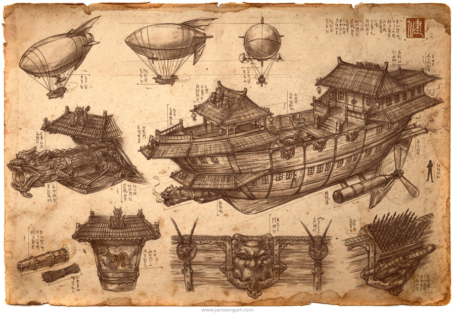 James ng art imperial convoy imperial convoy chinese steampunk airship blueprint illustration malvernweather Gallery
