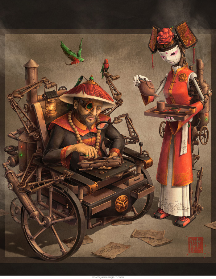 Chinese steampunk Imperial Inventor character design with clockwork robot assistant.