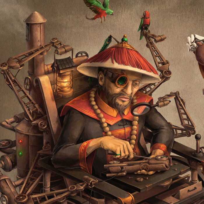 Detail of Chinese steampunk Imperial Inventor with steampunk birds.