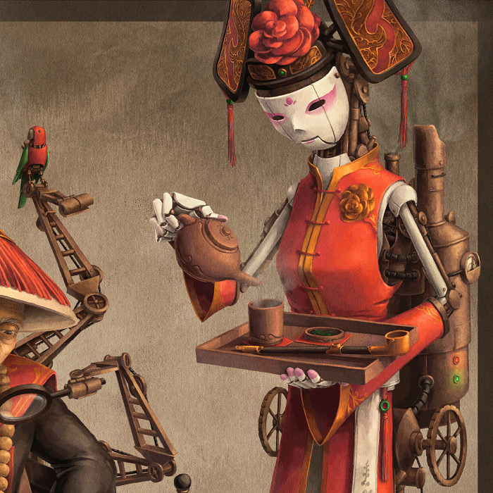 Detail of Imperial Inventor's steampunk robot maid.