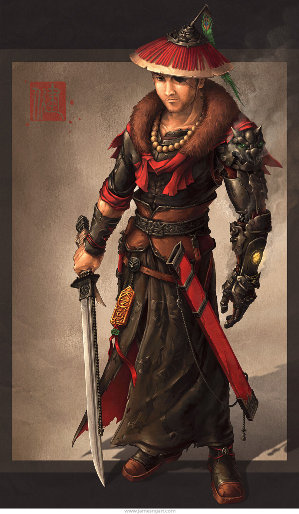 Imperial Sheriff Chinese steampunk swordsman character design.