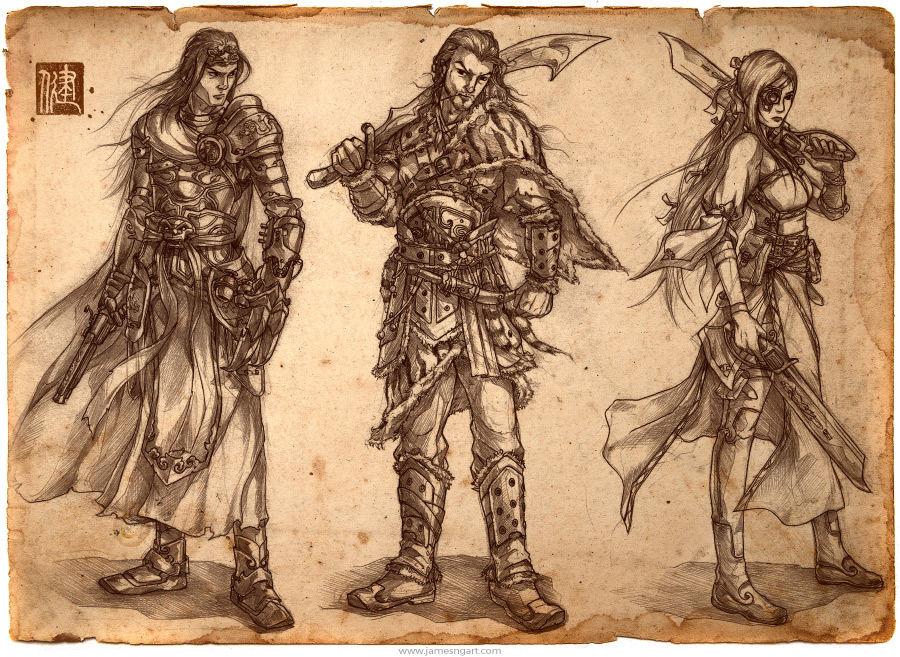 Pencil drawing of steampunk warriors character design