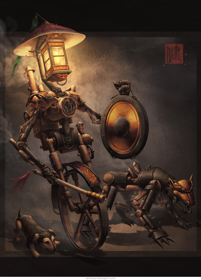 Night Patrol Chinese steampunk robot character art.