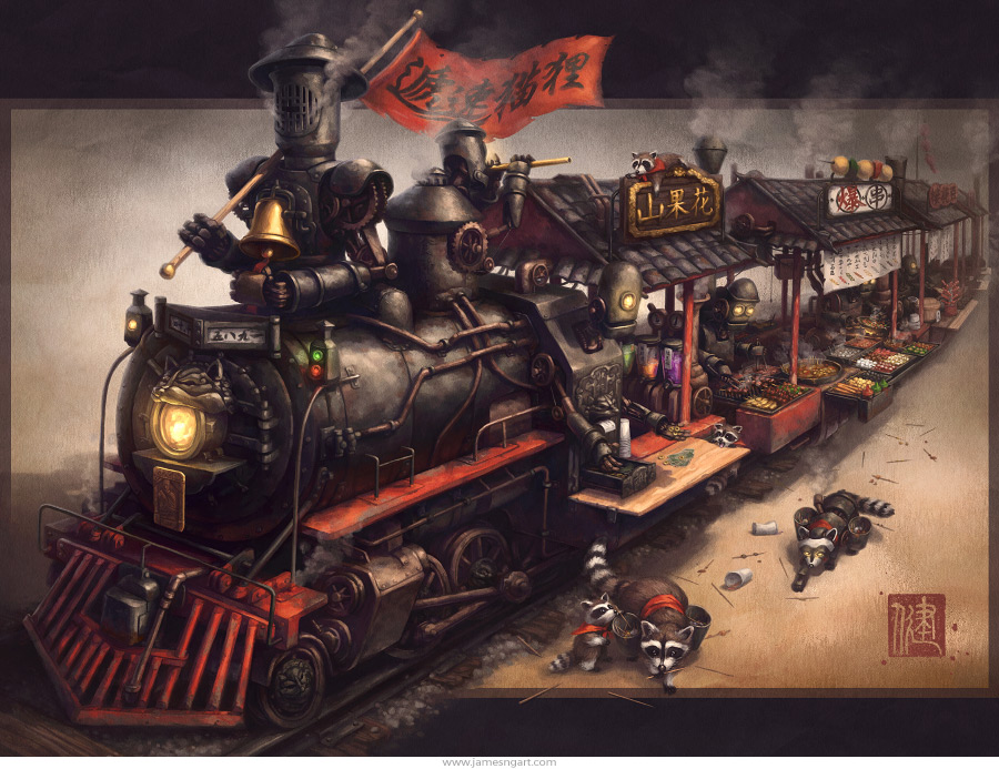 Raccoon Express Chinese steampunk food train illustration.