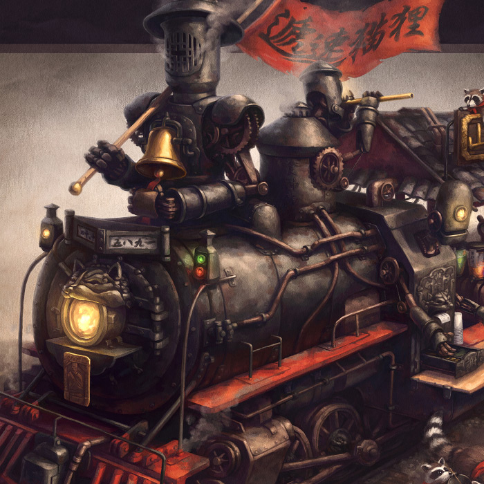 Detail of Raccoon Express steampunk train and robot raccoons concept art.