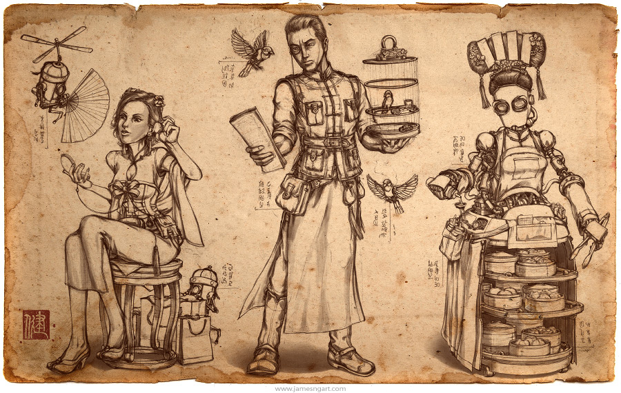 Sketch of steampunk Teahouse concept art.