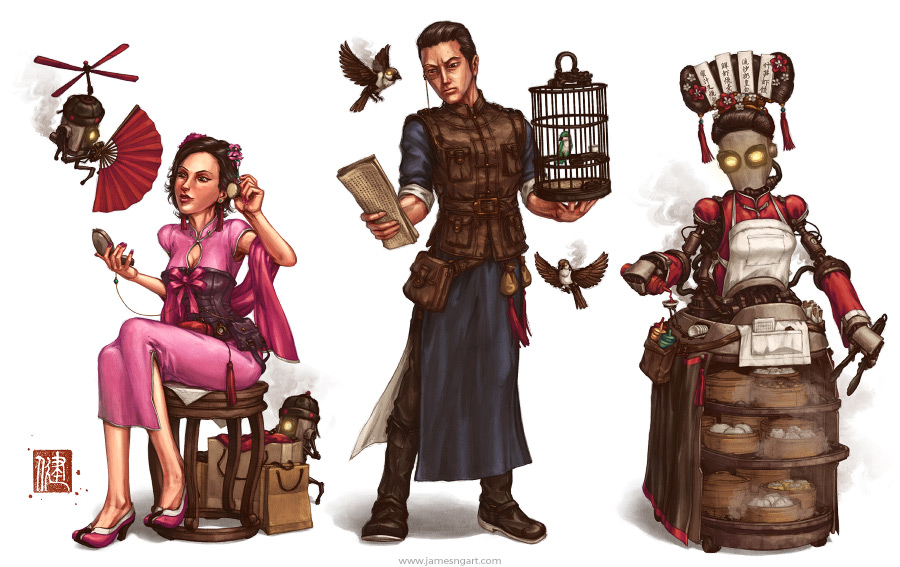 Teahouse Chinese steampunk character design.