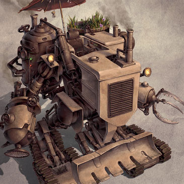 Harvester steampunk illustration.