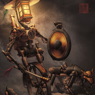 Night Patrol steampunk robot character design.