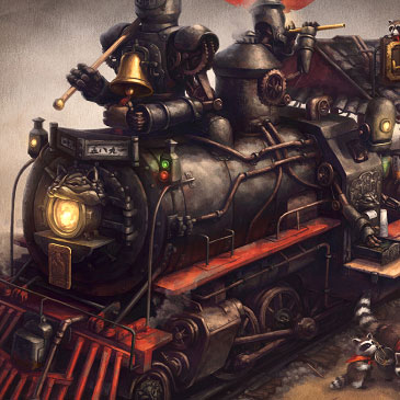Raccoon Express steampunk concept art.
