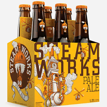 Steamworks Branding beer design.